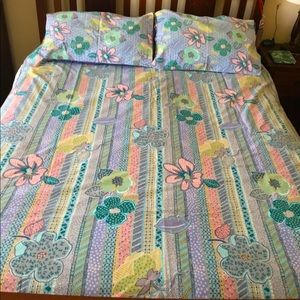 Double Bed Duvet Cover Retro Floral Bright